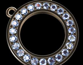 3D printable model Dainty Round Halo Diamond Pendant