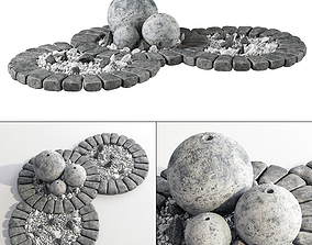 Flowerbed with stone decor 3D