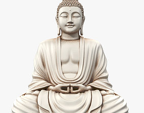 nepal 3D model Sitting Buddha White Statue