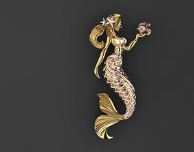 mermaid with fish 3D print model