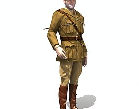 3D model Aviator WWI British Pilot - Low poly - rigged -