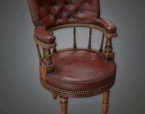 Antique Leather Chair 01 Antiques - PBR Game 3D asset