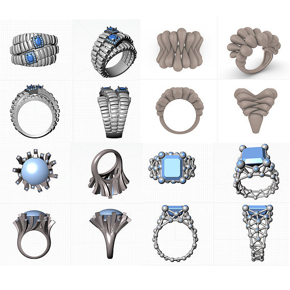 Some rings with repeating elements.