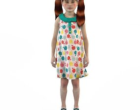 3D character Girl dress t shirt skirt Baby clothes