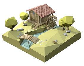 3D model Watermill isometric landscape village low