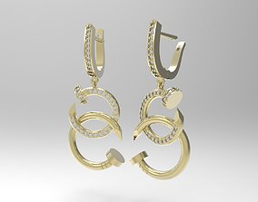 3D print model Nail shaped earrings with small diamonds