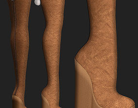 Long wedge boots winter shoes 3D model game-ready