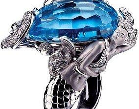 Mermaid Ring 3D print model garnet