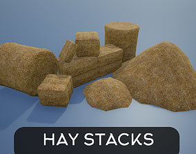 3D asset Lowpoly Hay Stacks