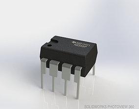NE555 Timer Chip 3D model