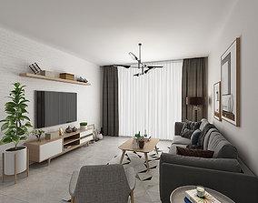 Living room interior 3D model seat