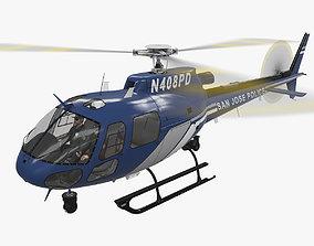 3D asset AS-350 San Jose Police Animated