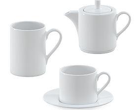 White ceramic tea collection 3D model
