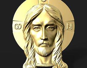 carving Jesus head pendant 3D print model
