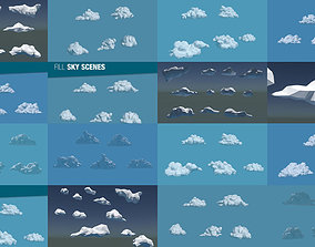 Low Poly Cloud Collection 3D model