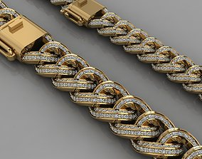 3D printable model Miami cuban link chain bracelets with 1