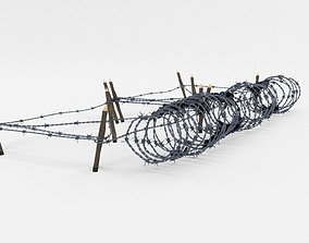 Low Poly Barb Wire Obstacle 3D model low-poly