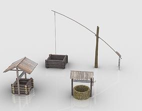 3D asset Medieval Village Wells Collection