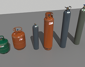 3D model Industrial Gas Cylinders Pack 2