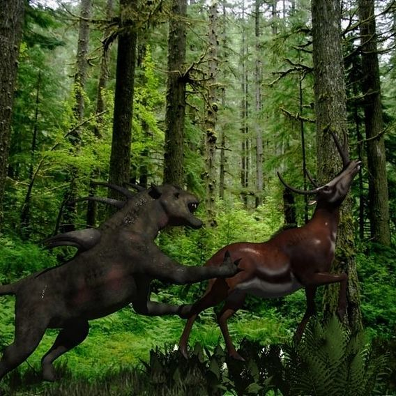 A Hellhound attacks a Hornbuck