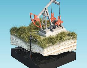 Oil Pumpjack isolated island 3D model