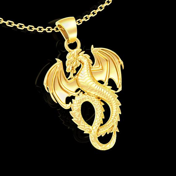 Dragon pendant jewelry gold necklace medallion 3D print model