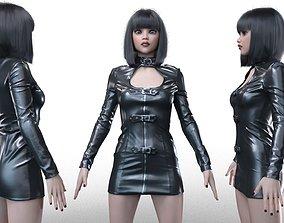 Belted Fetish Dress 3D model