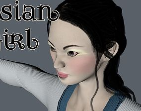 Asian woman 3D asset