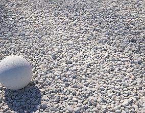 White small pebbles gravel texture 3D