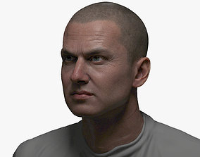 Game Animation Ready Male Face with 8K textures 3D asset