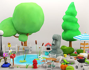 3D model Cartoon Garden Package
