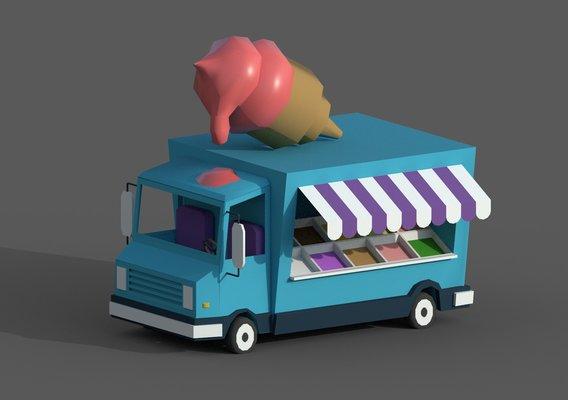 Lowpoly Stylized Ice Cream Car