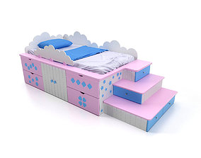 3D The bed Treasure chest