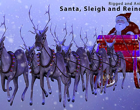 3D model animated Santa Sleigh and Reindeer