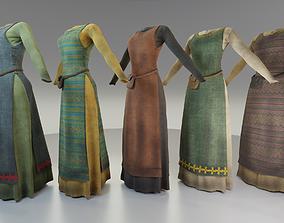 3D asset Medieval villager dresses