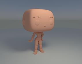 Custom Pop Female Standing Hairless Figure 3D Print Model