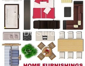 3D Home Furnishings Plan View Collection