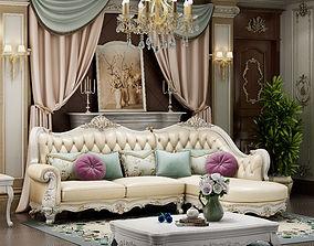 European-style corner sofa 3D furniture