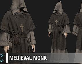 Medieval monk Marvelous Designer project 3D model