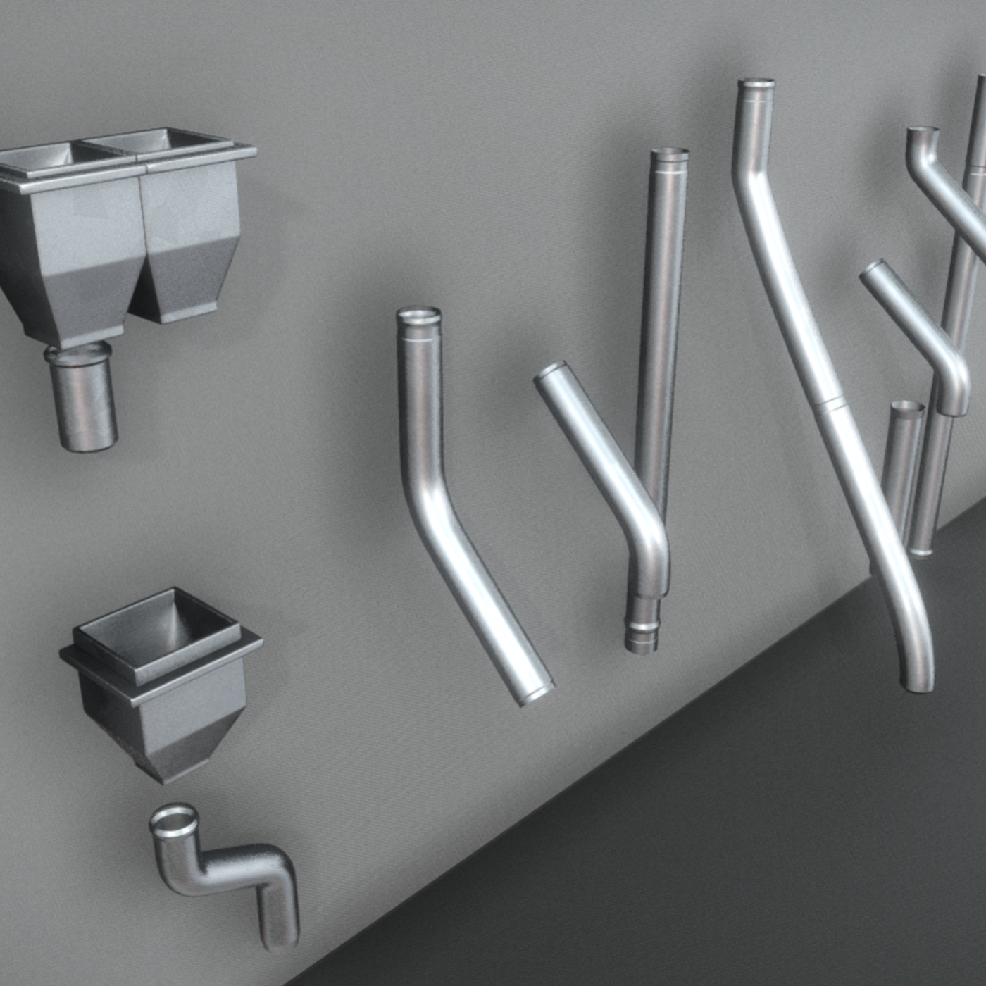 Modular Roof Gutter Pipe construction kit High-Poly Version