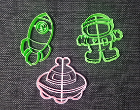 3D print model Ovni Astronaut and Rocket Cookie Cutter