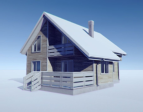Winter Cottage 3D asset