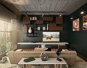 3D model Architectural Interior Scene - Living Room