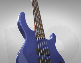 Five string electric bass guitar with 3D model