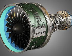 compressor PW GTF Geared Turbofan Engine 3D