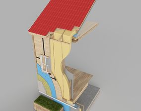 3D House Wall Cross Section Insulation
