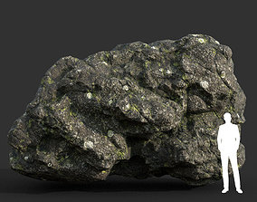 3D asset Low poly Damaged Lichen Rock 13 190907