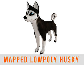 Husky Dog Wolf Low Poly with Mapped Game Ready 3D model