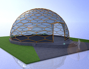 Hexagonal geodesic dome like structure with entry 3D model