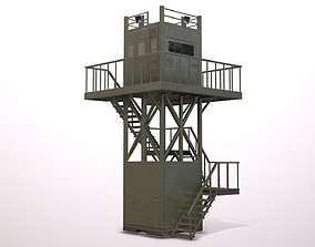 Metal watchtower 3D asset